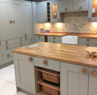 Sage green Cranbrook kitchen with fabulous Oak features