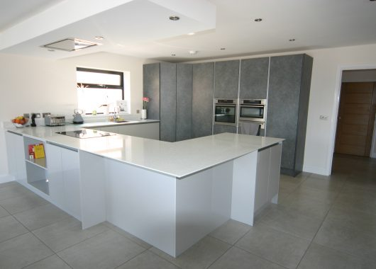 White / Grey Gloss and Concrete mix kitchen